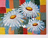Easter decoration, painting, painting picture, acrylic painting, nature picture, unique picture, acrylic painting, floral picture, chamomile picture