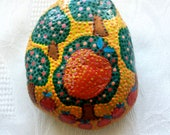 Lucky Charm Stone, Pebble, Hand Painted Stone Paradise Garden, Lucky Charm, Mandala Stone, Office Gift Ideas