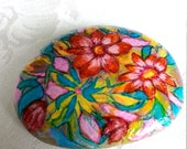 Lucky Charm Stone, Pebble, Hand Painted Stone, Flowers Stone, Unique Stone