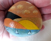 Easter decoration, pebble, handpainted stone, lucky charm, nature stone, stone for the soul