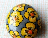 Lucky Charm Stone, Pebble Painted, Hand Painted Stone, Flowers Stone, Nature Stone, Unique Stone