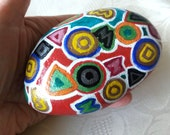 Easter decoration egg, pebble painted, handpainted stone, lucky charm, stone ornament, nature stone, abstraction stone, stone gift