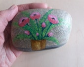 Easter decoration, pebble painted,handpainted stone, lucky charm, floral stone, unique nature stone