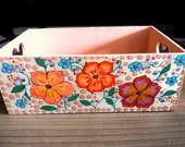 Gift vintage wood box box, hand painted decoration wooden box with heart handles