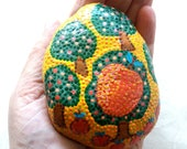 "Easter decoration, pebble, handpainted stone""paradise garden"",lucky charm, mandala stone, office gift ideas"