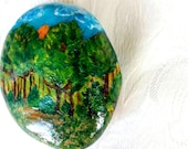"Easter decoration, pebble, hand-painted stone ""sunset in the Black Forest, Bavaria"", stone for the soul, lucky charm"