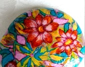 Easter Stone, Pebble, Handpainted Stone, Lucky Charm, Flowers Stone, Unique Stone