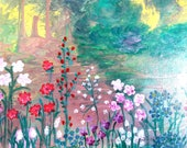 Easter decoration, painting painting picture, acrylic painting, meadow flowers, nature picture, unique picture, flowers picture, forest picture