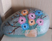 Easter decoration, pebble painted,handpainted stone, lucky charm, floral stone, unique stone