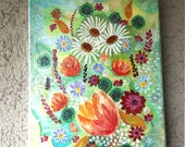 Acrylic paintings on canvas, painting, painting picture, nature picture, unique picture, birthday gift, summer flowers, summer mood