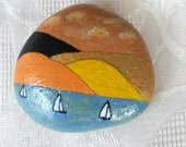 Lucky Charm Stone, Pebble Hand Painted, Nature Unique Stone, Gift for the Soul, Modern Deco Design Stone