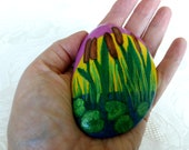 Easter decoration, pebble, handpainted stone, lucky charm, still ness, pond, reeds, lily, nature, tranquility - stone