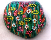 Lucky Charm Stone, Pebble, Hand Painted Stone, Meadow Flower Stone, Flowers Stone, Unique Gift Stone, Mandala Stone