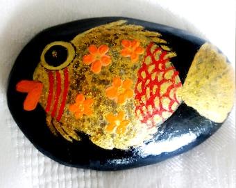 Lucky Charm Stone, Hand Painted Stone, Lucky Charm Stone, Vintage Stone, Goldfish Stone