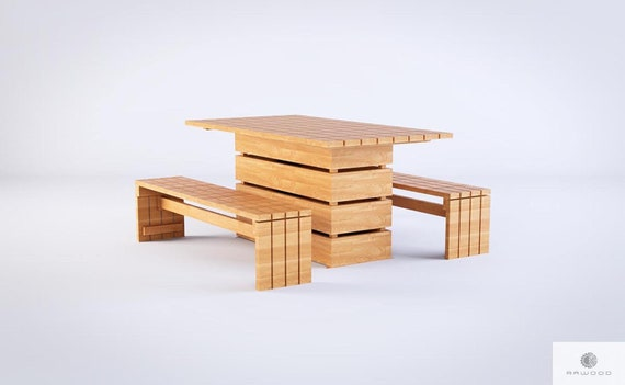Wooden Garden Table Handmade Pine Solid Wood Table Wooden   Etsy