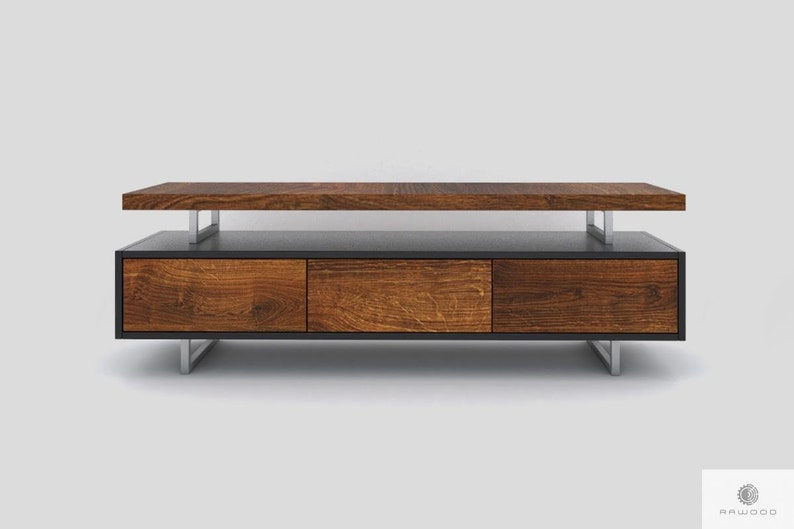 Tv Cabinet Tv Stand Console Living Roomold Wood Chromelaminate Nesca Ii