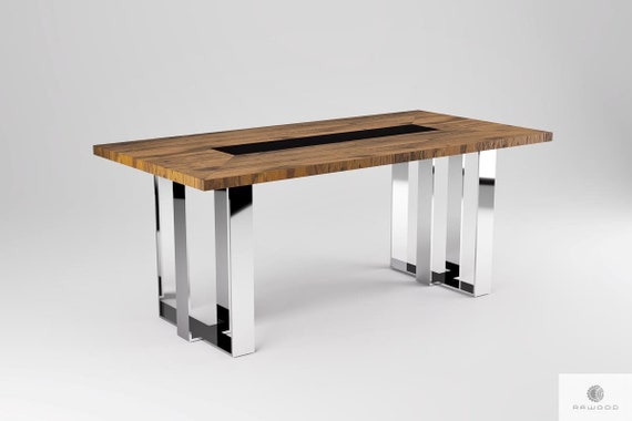 Oak Dining Table Rustic Table Wooden Table Metal Table Legs Etsy