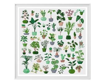 Plant Cross Stitch Pattern (Digital Download - PDF) - Modern Plant Cross Stitch Charts by Tiny Cross Stitch Co