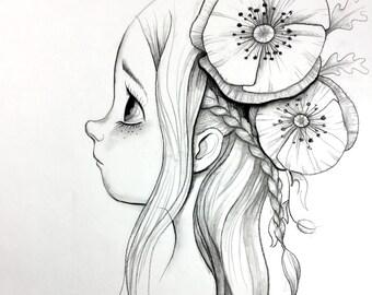 Kleine Meerjungfrau Original Kohle Zeichnung Cartoon Charakter Etsy