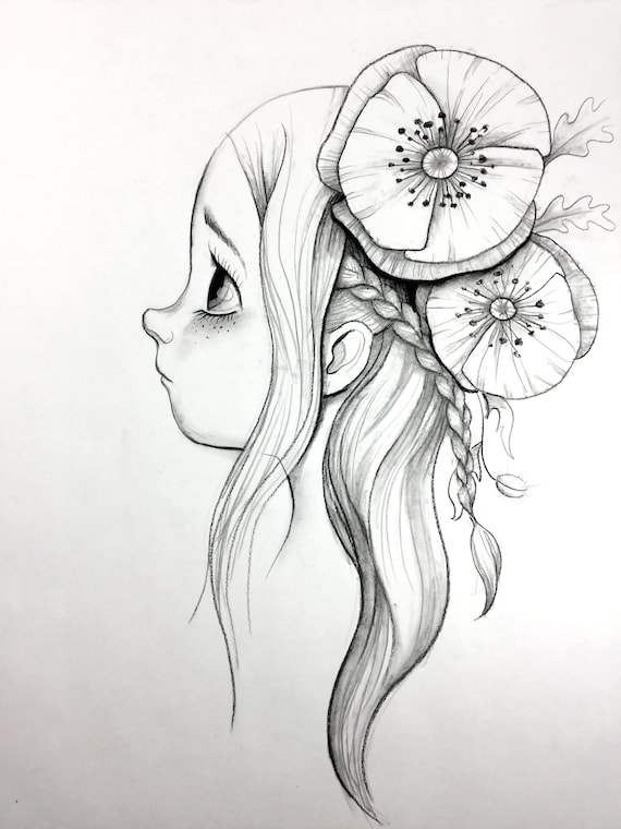 Original Charcoal Pencil Drawing Cartoon Character Sketch Etsy