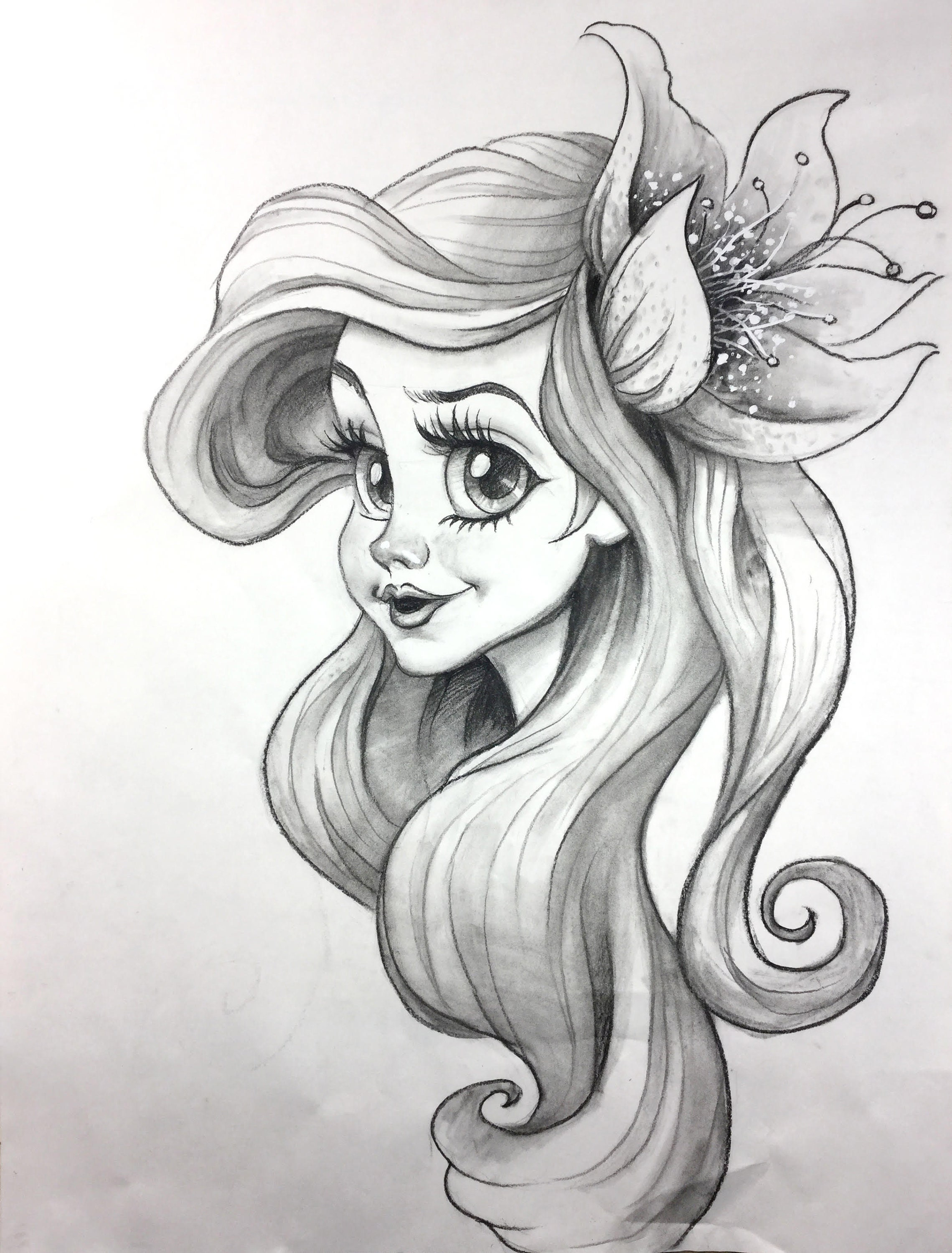 Little mermaid original charcoal pencil drawing cartoon character sketch charcoal pencil sketch