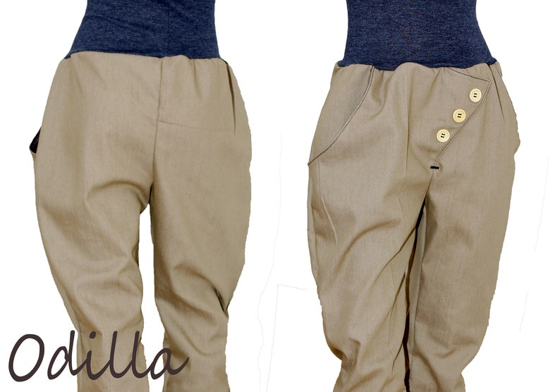 62b79929544b Button pants in beige light jeans pumphosis with wooden
