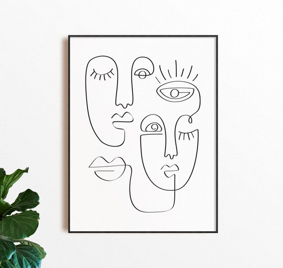 Set of 3 prints One Line Faces Line Art Face Continuous Line Art Face Line Art Minimal Wall Art DOWNLOAD INSTANT Digital art