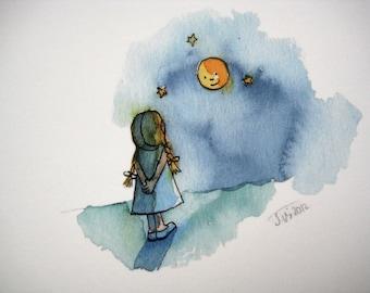 Artist postcard» moon girl «