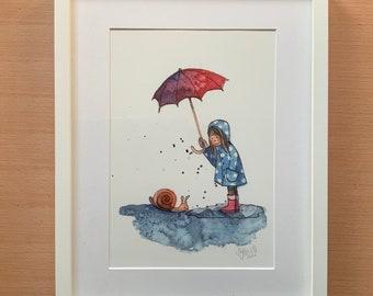 "Poster ""Rain Snail"", Art Print, DIN A4"