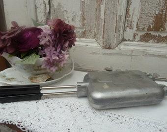 antique waffle iron, baking iron