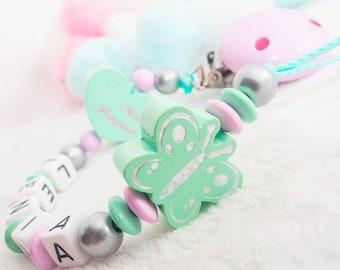 Schleife ★ Mädchen ★ Baby  ★ rosa Schnullerkette mit Namen ★ MINI Prinzessin