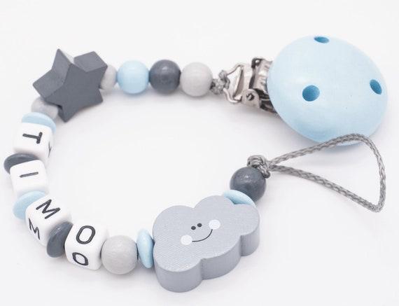 Schnullerkette mit Namen  ★ ELEFANT★ mint grau Baby Junge Geschenk  ★ Häkelperle