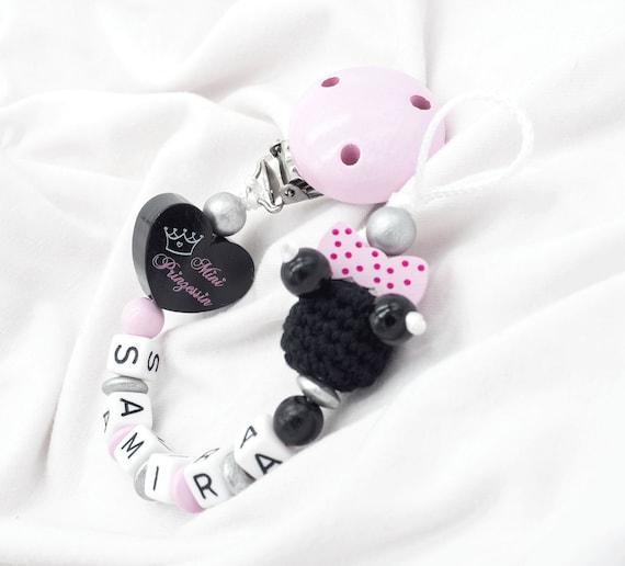 Schnullerkette mit Namen Mädchen rosa grau ♥ kleine Prinzessin Babygeschenk Holz