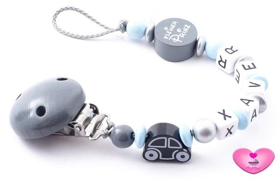 Schnullerkette mit Namen ★ Sterne ★ Junge Geburt Babygeschenk blau grau weiß