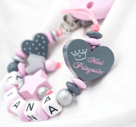Schnullerkette mit Namen Prinzessin Teddy Baby Geburt Mädchen rosa grau
