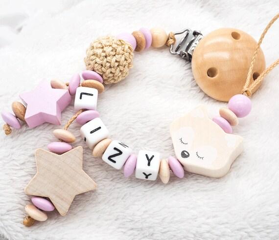 Schnullerkette mit Namen ♥ Mädchen ♥ Wolke ♥ Babygeschenk rosa mint Geburt Taufe