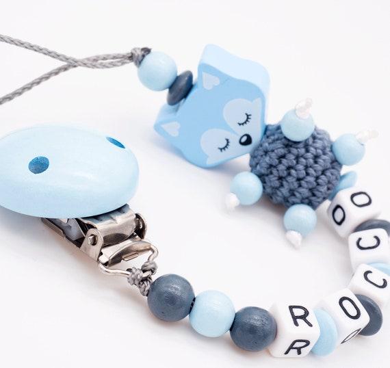 Schnullerkette mit Namen★Junge Wolke+Bisschen Mama+Papa ★Babygeschenk blau grau