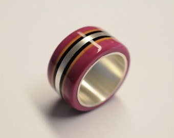 Designer ring made of acetate - attractive women's ring with colorful acetate on silver ring rail, acetate jewelry, silver ring, acetate ring