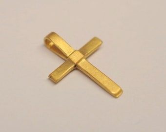 Cross pendant made of 900 yellow gold - also popular as a gift for birth, baptism or communion, confirmation; without chain