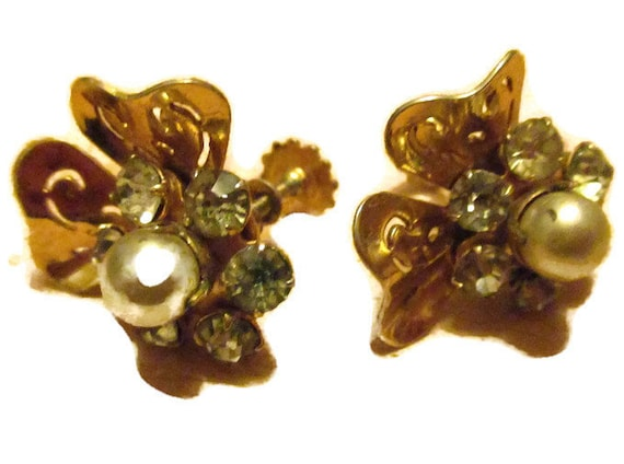 gift Valentine/'s Day ear jewellery retro with stones and pearl costume jewelry vintage earrings 2.5 cm Lush ear jewellery with screw