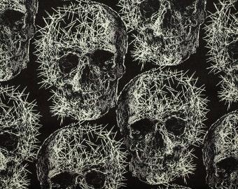 Fabric skull black white grey
