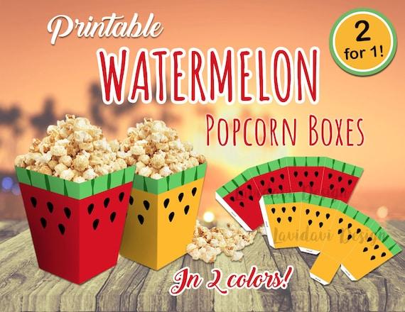 Boîte de Popcorn bricolage pastèque, melon d'eau pop-corn modèle Téléchargement instantané, modèle de boîte parti de melon d'eau, pastèque imprimable ...