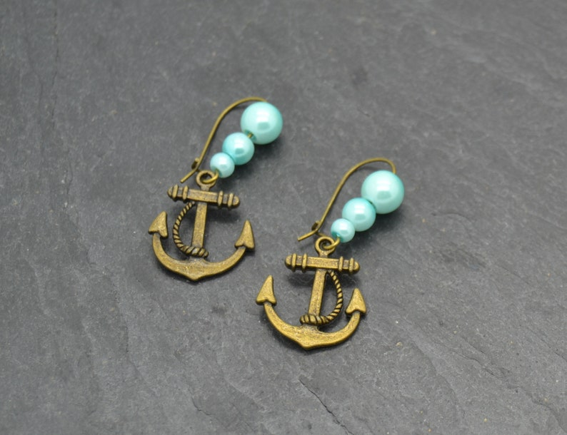 Vintage Earrings with beads Anchor