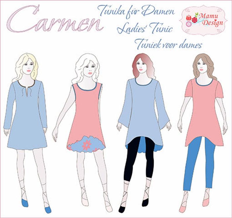 Carmen E-pattern Ebook for Tunic Dress Shirt for Ladies image 0