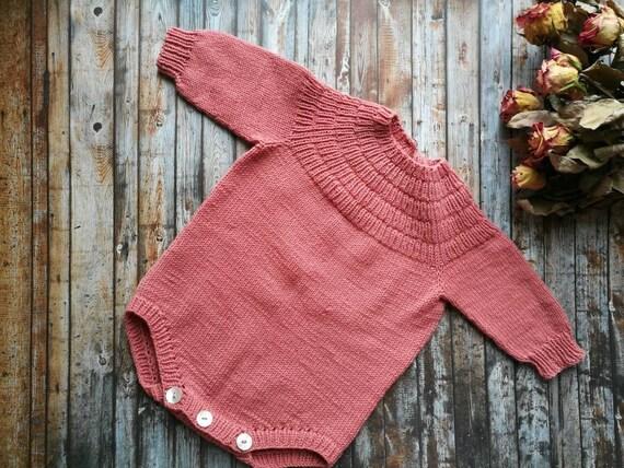 romper Handmade old rose baby girl onesie knitwear
