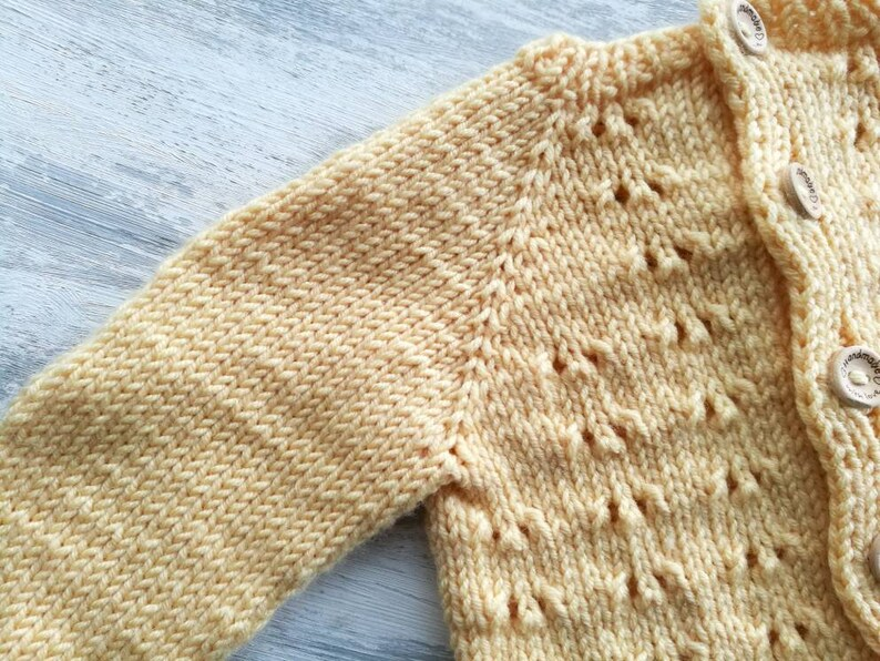 newborn jacket Baby knitted jacket hand knitted cardigan eyelet pattern jacket newborn cardigan