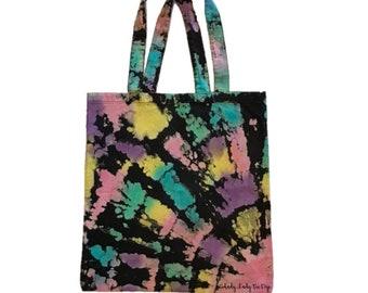 Yellow Blue Tie Dye Bag Pink Reverse Tie Dye Tote Bag 13.75x14.5 Purple /& Green Tote Bag 100/% cotton