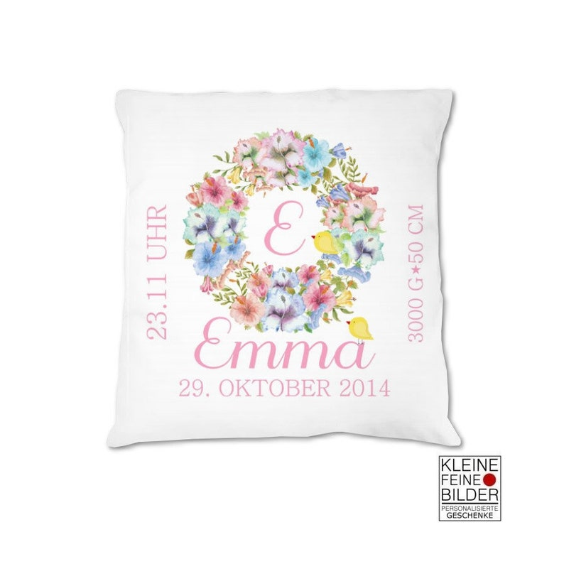 Baby pillow personalized with name baby pillow for birth Rosa