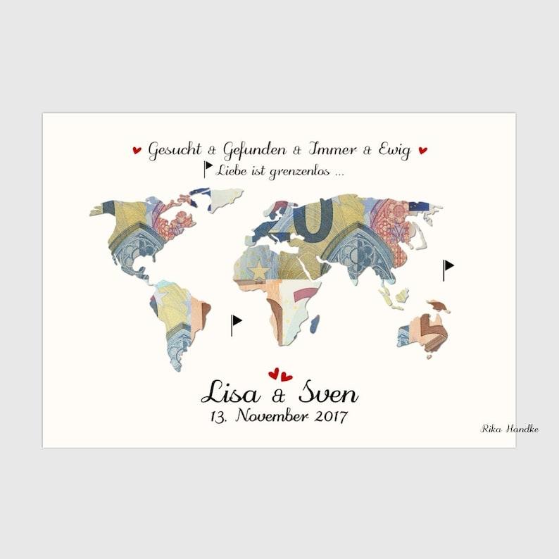 Wedding gift world card / money gift wedding / wedding gift / Liebe ist grenzenlos