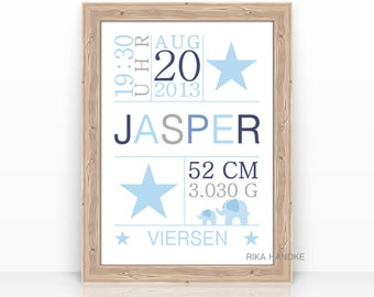 Personalized BABY Gift for Baptism TAUFGESCHENK Baby Gift BIRTH NOTE Name Birth Gift Christmas Gift